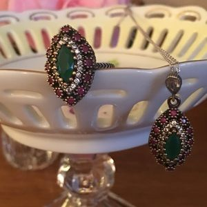 Beautiful Gemstones Necklace and Ring Sterling Set